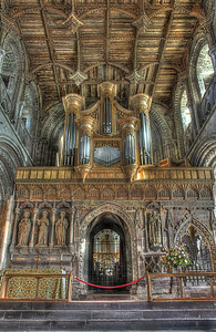 Choir screen and organ from the Nave, St David's cathedral