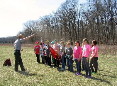 Students from St. Francis Academy in Bally recently visited Gettysburg battlefield and retraced the steps of the 28th Virginia Regiment during Pickett's charge. Ranger Casimer Rosiecki explained what soldiers were experiencing prior to the charge: weather conditions of the battlefield on the day of Pickett's Charge, location of the Union lines, and some of the artillery used.