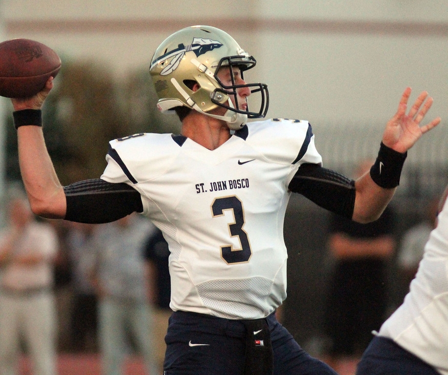 . August 30, 2013. St. John Bosco\'s Josh Rosen (3) throws a pass during Friday\'s game against Dominguez at Dominguez High School in Compton, California. (Mark Dustin/For the Long Beach Press-Telegram)