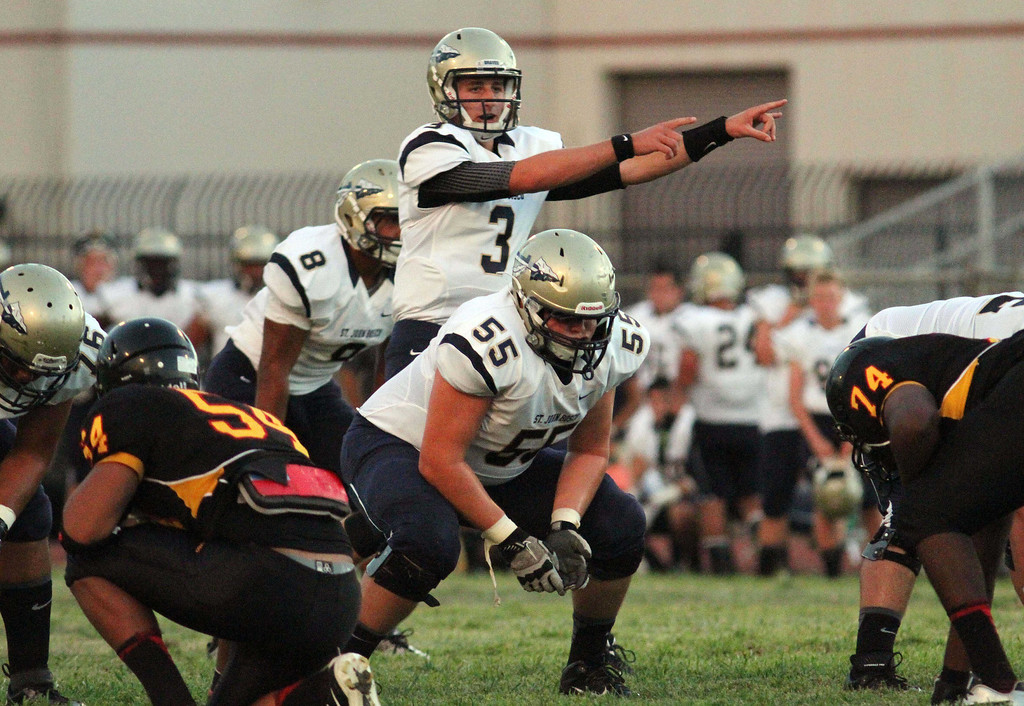 . August 30, 2013. St. John Bosco\'s Josh Rosen (3) calls a play from the line of scrimmage during Friday\'s game against Dominguez at Dominguez High School in Compton, California. (Mark Dustin/For the Long Beach Press-Telegram)