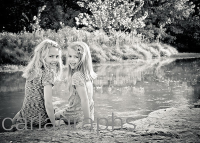 Girls on the Riverbank bw-1