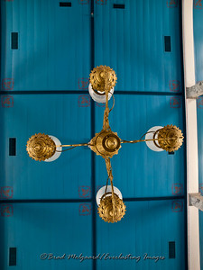 Embellished ceiling and chandelier - St. Paul's Lutheran-Serbin, Texas