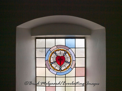 Heart Cross stained glass - St .Paul's Lutheran-Serbin, Texas