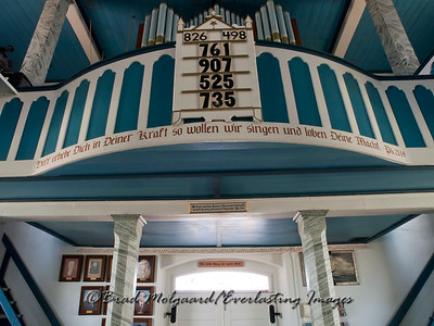 Organ loft with Wendish scripture - St. Paul's Lutheran-Serbin, Texas