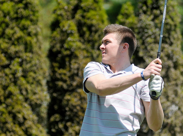 Rotnei Clarke watches his tee shot off the 12th tee during the St. Vincent Anderson Regional Hospital Foundation Children's Clinic Golf Classic at the Anderson Country Club on Tuesday.