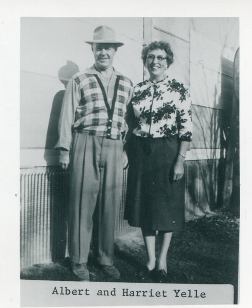 "Albert Yelle and Harriet Stack Yelle.  --   ""Dec. 1962"" written on back of print."