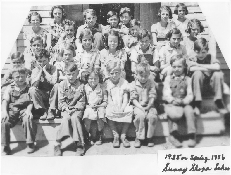 (aa)   From Ed's collection. -- I Will have to double-check identities with Ed. But, if I am remembering correctly what Ed told me, following are the identifications. Please let me know if I have any of these wrong ::<br /> -- Ed Stack = bottom row - second child from the right - head turned down a bit.<br /> --- Harold Stack = second row up - second child from the left - with hands on face.<br /> ---- Larry Stack = third row up- first child on the left - chin behind Harold's head.<br /> ----- Morris Stack = top row - in middle of row - head a bit lower than boys on each side.<br /> <br /> --------------------------------------<br /> Note: Comments welcomed on any of these photos. Please feel free to leave a comment in lower left of this webpage, or email me at ds329ds@hotmail.com .
