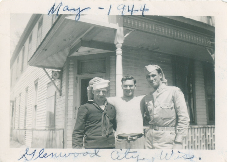 """Morris Stack and Pete Holldorf.   Who is the guy in the middle?<br /> Stamped on the back is, """"Brown Photo Service, Minneapolis, Minn., May 24 1944""""."""