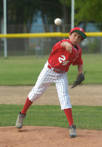 Mechanicville-Stillwater's Dante D'Ambro pitches against Saratoga National during Tuesday's game at West Side Rec. Ed Burke 7/3/12