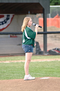 Katherine Cornell sings the National Anthem to kick off the 2011 Babe Ruth World Series Game Friday Morning in Clifton Park between CP and Guilderland. Photo By Eric Jenks 8/27/11