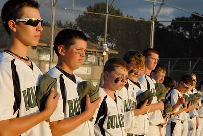 Clifton Park Babe Ruth Championship game during the National Anthem on the field Friday evening.Photo Erica Miller 8/26/11 CPvsTRI3
