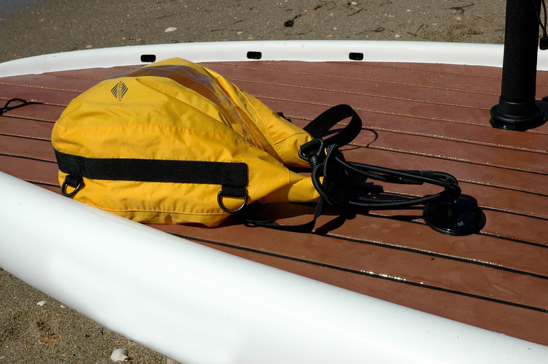 SUP with dry bag attached by a Tallon loop