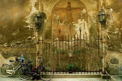 Crucifixion with Two Bikes Lucca, Italy