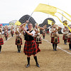 Marjorie Schoen and the Anderson Marching Highlanders compete during State Fair Band Day on Friday.