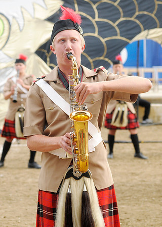 The Anderson Marching Highlanders compete during State Fair Band Day on Friday.