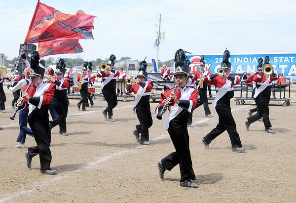 The Frankton Marching Eagles compete during State Fair Band Day on Friday.