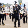 Don Knight/The Herald Bulletin<br /> Bobby Steele, center, was one of three drum majors leading the Marching Bulldogs during State Fair Band Day on Friday.