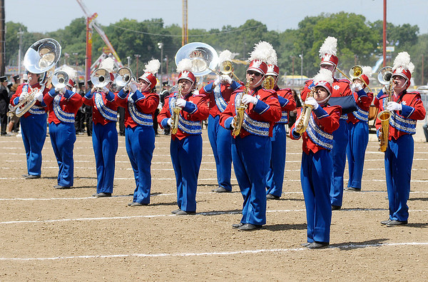 The Elwood Marching Panthers compete during State Fair Band Day on Friday.