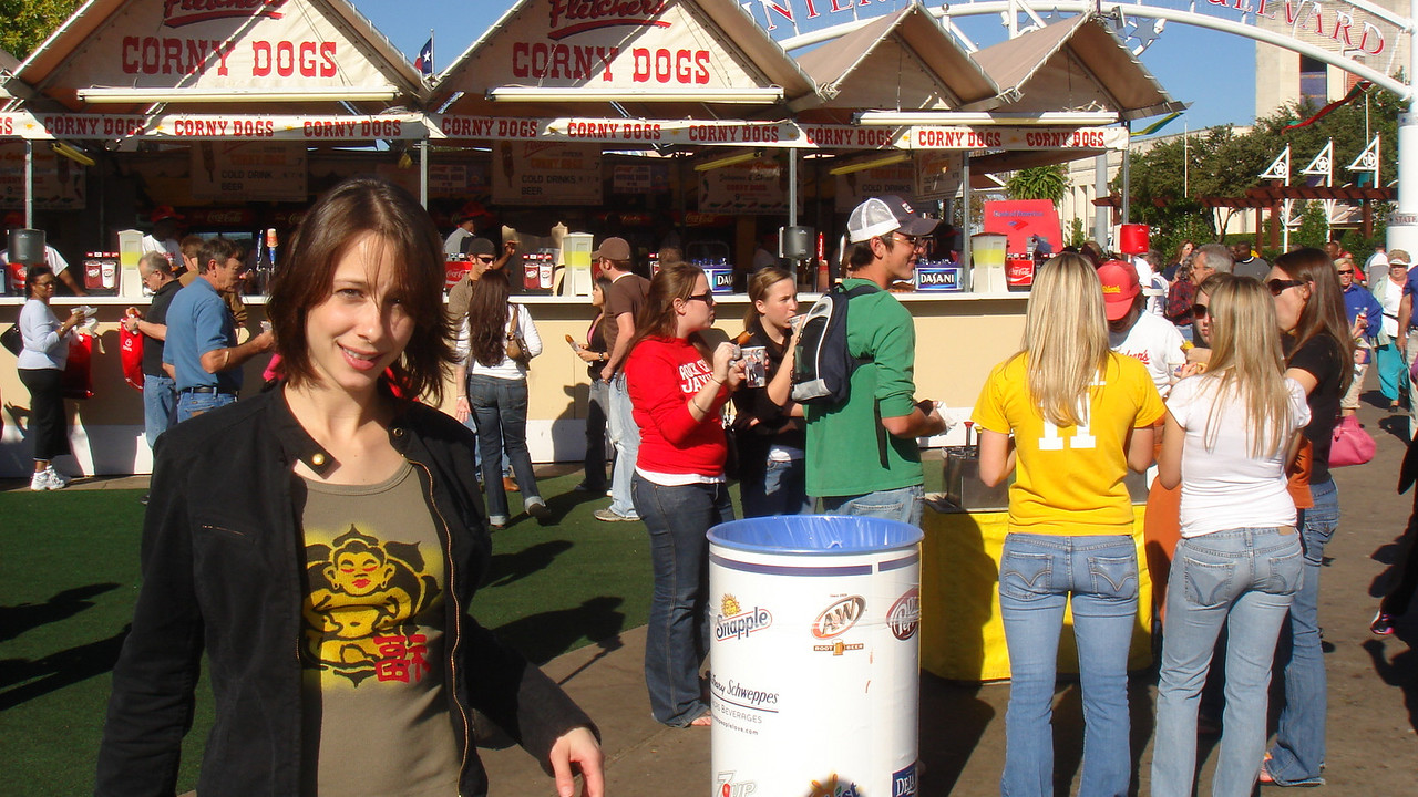 Cali getting ready to eat Corny Dogs at the State Fair of Texas