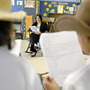 SENTINEL & ENTERPRISE / JONATHAN PHILLIPS<br /> Third-graders (L) Olivia Hannigan and Kentia Mason perform a short play with their classmates for State Rep. Jennifer Flanagan during Community Reading Day at St. Anna's School in Leominster, Wednesday morning.
