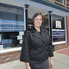 SENTINEL & ENTERPRISE / BRETT CRAWFORD<br /> State Senate candidate Jennifer Flanagan outside of her campaign office on Main Street in Fitchburg, Wednesday.