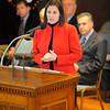 SENTINEL & ENTERPRISE / BRETT CRAWFORD<br /> State Senator Jennifer Flanagan speaks during Leominster's Veterans Day Ceremonies in City Hall, Wednesday.