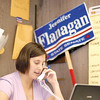 SENTINEL & ENTERPRISE / BRETT CRAWFORD<br /> State Senate candidate Jennifer Flanagan makes phone calls to local residents reminding them to vote on Tuesday from her office on Main Street in Fitchburg, Monday.