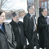 SENTINEL & ENTERPRISE / BRETT CRAWFORD<br /> From left, State Senator Jennifer Flanagan, State Representative Stephen DiNatale, and Massachusetts Education Commissioner Paul Reville go on a walking tour of Fitchburg State College with president Dr. Robert Antonucci, Monday.