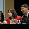 SENTINEL & ENTERPRISE / JONATHAN PHILLIPS<br /> (L) Fitchburg Mayor Lisa Wong, Representative Jennifer Flanagan and Senator Robert Antonioni of The Politician's confer with one another as they try to spell a word during the 5th Annual Boys & Girls Club Adult Spelling Bee, Thursday night.