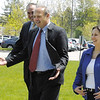 SENTINEL & ENTERPRISE / JONATHAN PHILLIPS<br /> Massachusetts Speaker of the House Salvatore DiMasi, flanked by State Reps. James Eldridge and Jennifer Flanagan, walks towards the entrance to the Bristol-Myers Squibb building in Devens, Tuesday morning.
