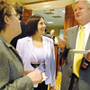 SENTINEL & ENTERPRISE / JONATHAN PHILLIPS<br /> (L) Julie Bergstrand of Leominster Credit Union, State Rep. Jennifer Flanagan and Andy Cousins of Leominster Credit Union talk during the Multi-Service Center's annual fundraiser at the Four Points by Sheraton in Leominster, Thursday evening.