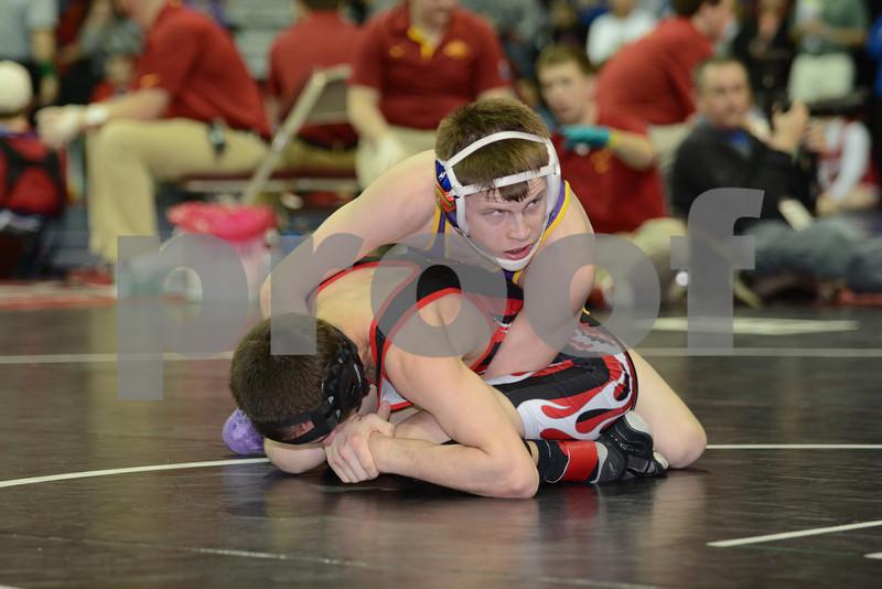 2014 Iowa High School Athletic Association State Tournament Class 1A <br /> 113<br /> Quarterfinal - Zach Fowler (Alburnett) 43-5 won by decision over Ryan Cale (Cardinal, Eldon) 37-8 (Dec 6-0)