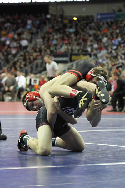 2014 Iowa High School State Finals Class 2A<br /> 2A-120<br /> 1st Place Match - Blake Luna (Clarinda) 41-3 won in the ultimate tie breaker over Brendan Gould (Assumption, Davenport) 37-6 (UTB 4-3)