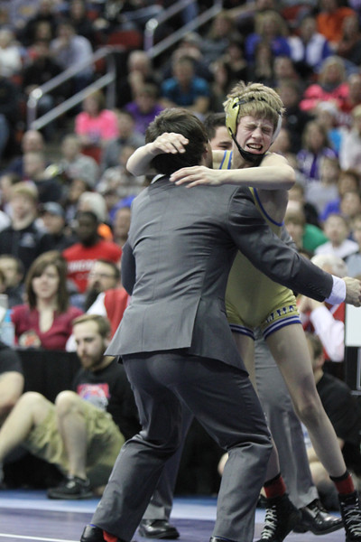 2014 Iowa High School State Finals Class 2A<br /> 106<br /> 1st Place Match - Tristan Birt (Wahlert, Dubuque) 42-4 won in sudden victory - 1 over Connor Cleveland (New Hampton) 44-2 (SV-1 7-5)