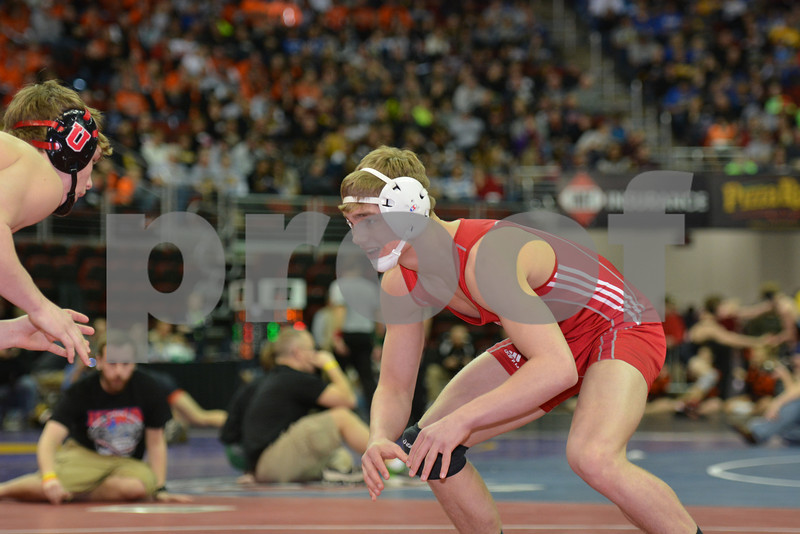 2014 Iowa High School Athletic Association State Tournament Class 2A<br /> 160<br /> Semifinal - Jacob Holschlag (Union, LaPorte City) 48-1 won by tech fall over Beau Sorenson (Forest City) 45-11 (TF-1.5 5:15 (16-0))