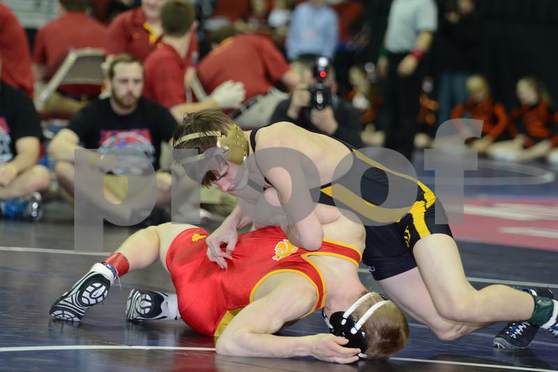 2014 Iowa High School Athletic Association State Tournament Class 2A<br /> 113<br /> Semifinal - Brock Rathbun (Center Point-Urbana) 46-0 won by tech fall over Brady Kyner (Carlisle) 35-5 (TF-1.5 3:12 (15-0))
