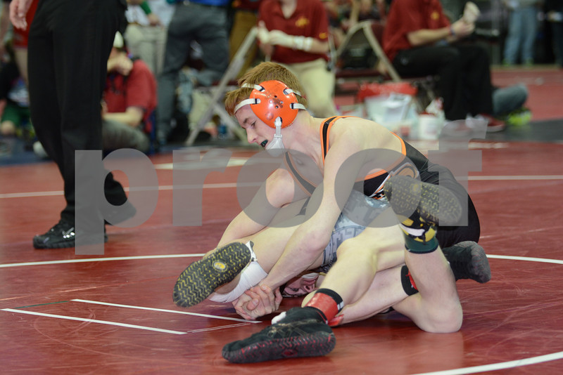 2014 Iowa High School Athletic Association State Tournament Class 3A <br /> 120<br /> Cons. Round 2 - Sam Uthoff (Prairie, Cedar Rapids) 39-11 won by major decision over Nathan Sands (Waverly-Shell Rock) 32-10 (MD 12-0)