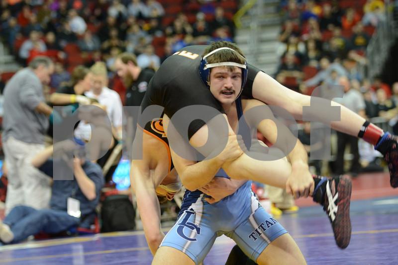 2014 Iowa High School Athletic Association State Championships Class 3A<br /> 152<br /> Semifinal - Trey Blaha (Prairie, Cedar Rapids) 39-11 won by decision over Ethan Ruby (Lewis Central) 47-7 (Dec 5-1)