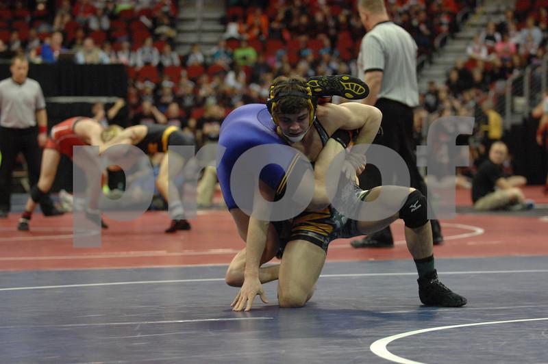 2014 Iowa High School Athletic Association State Championships Class 3A<br /> 145<br /> Semifinal - Bryce Steiert (Waverly-Shell Rock) 47-1 won by fall over Landon BeLieu (Indianola) 41-4 (Fall 1:36)
