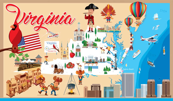 Cartoon map of Virginia