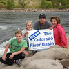 Colorado College President Jill Tiefenthaler with her family on the Colorado River near Glenwood Springs, CO