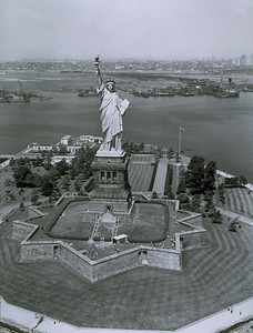 Statue of Liberty and Liberty Island in New York Harbor
