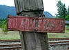 Rail yard sign in the Columbia River valley, OR