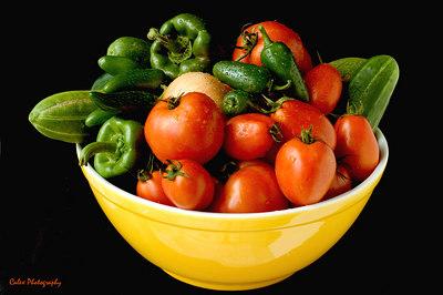 Freshly rinsed vegetables