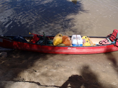 The put-in at Mineral Bottom. Canoe all loaded, ready to go.