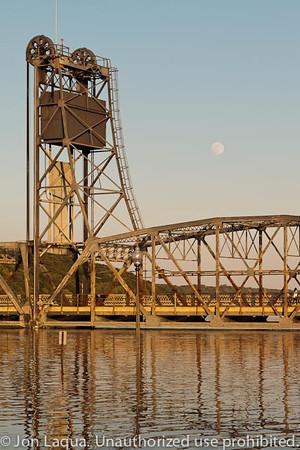 Stillwater Lift Bridge and Full Moon