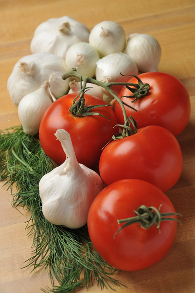 Ingredients, garlic and tomatoes