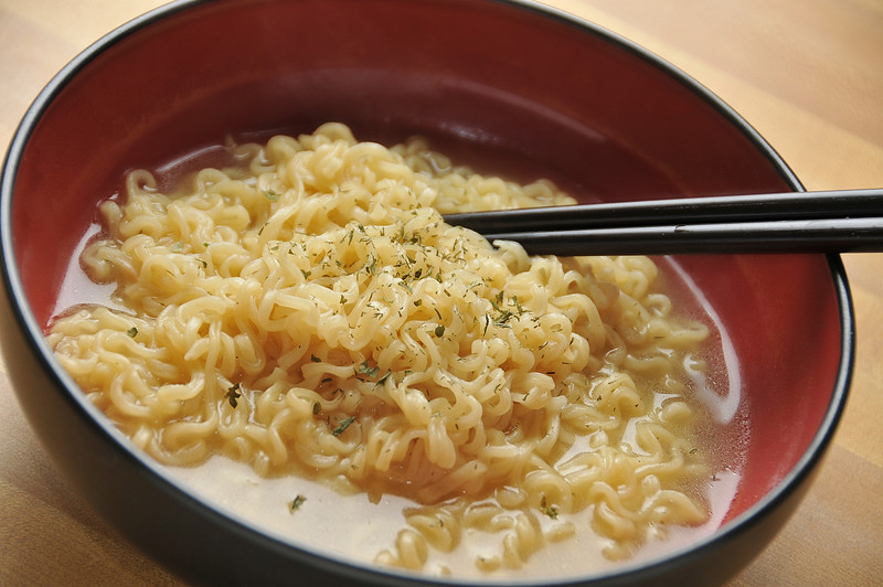 Ramen noodles and chop sticks
