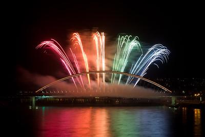 Firework on the bridge