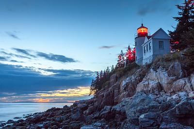 Bass Harbor Lighthouse at sunset, Acadia National Park, Maine, USA